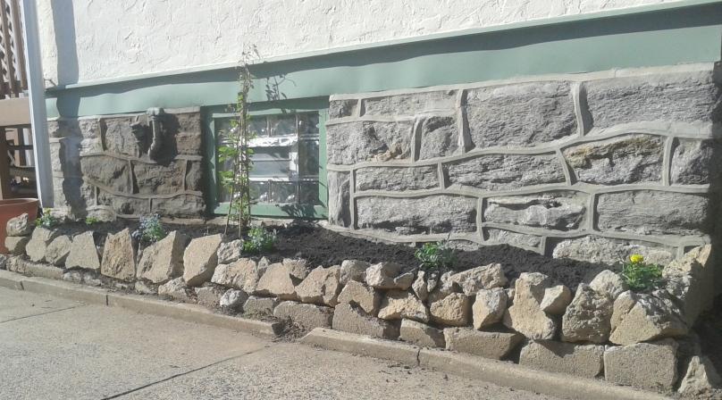 Drive way stone wall
