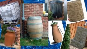 rain barrel collage